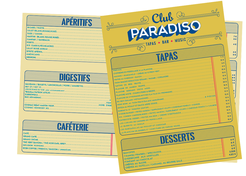 Carte Club Paradiso saison 2019